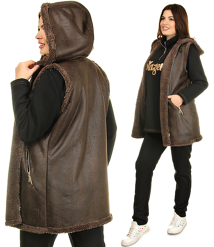 Новинка Костюм тройка теплый спортивный женский с капюшоном, жилетка на меху 05e4919ea15