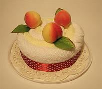 """Полотенце-тортик """"Тортик с фруктами(персик)"""""""