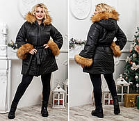 b4d11ec15d3 Куртка курточка зимняя плащевка синтепон 200 рукав муфта опушка на капюшоне  батал размеры 50-