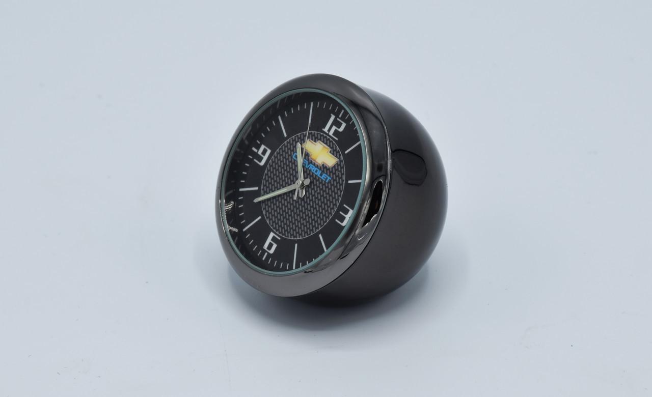 Годинник в автомобіль Vehicle clock Chevrolet, хром/круглі автомобільні годинники з маркою авто Шевроле