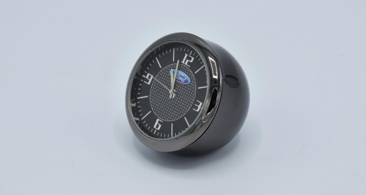 Часы в автомобиль Vehicle clock Ford, хром/круглые автомобильные часы с маркой авто в Форд подарок