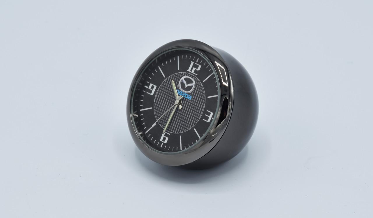 Часы в автомобиль Vehicle clock Mazda, хром/круглые автомобильные часы с маркой авто в Мазда подарок