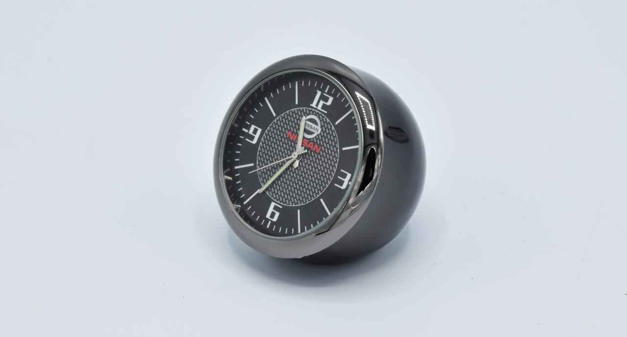 Часы в автомобиль Vehicle clock Nissan, хром/круглые автомобильные часы с маркой авто в Нисан подарок