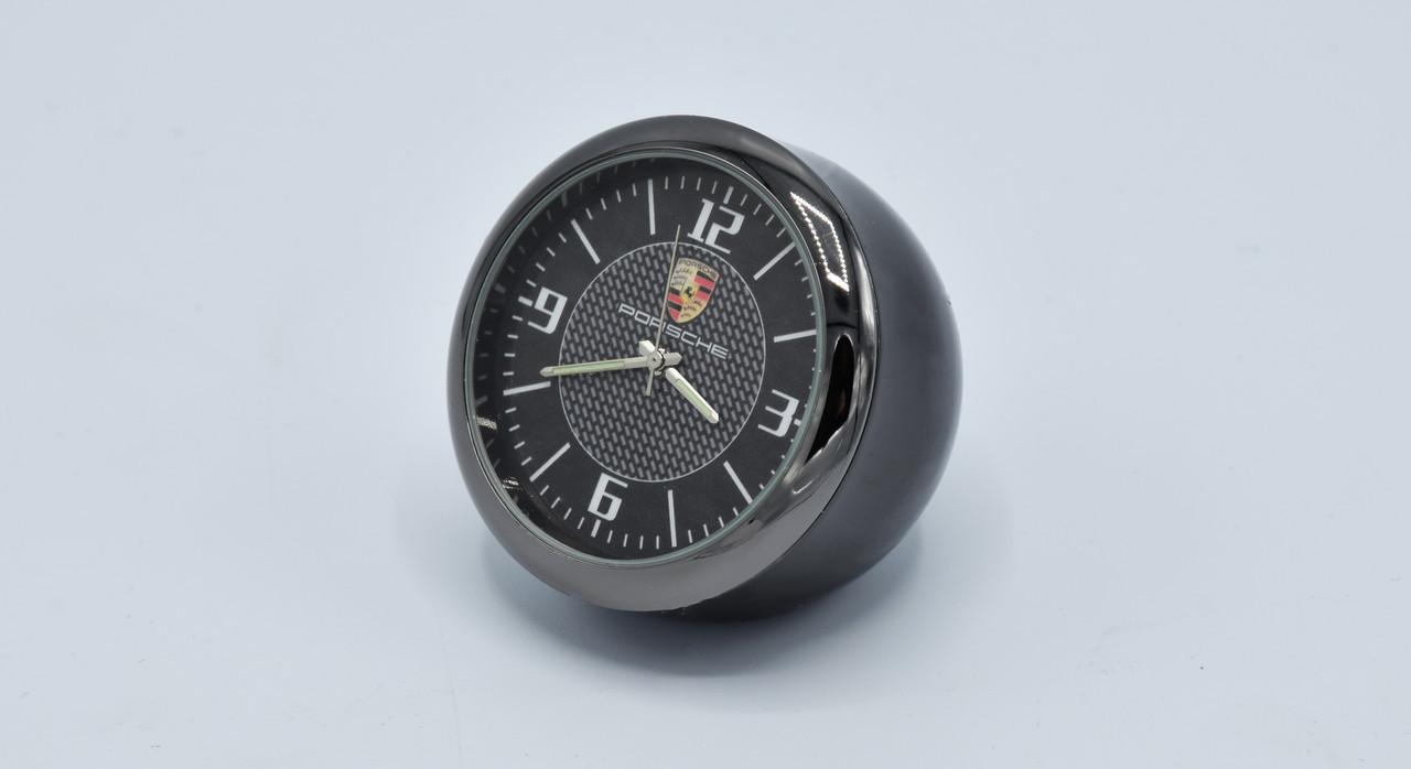 Часы в автомобиль Vehicle clock Porsche, хром/круглые автомобильные часы с маркой авто в Порше подарок
