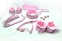 Универсальный набор для BDSM игр розовый мех