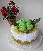 """Полотенце-тортик """"Торт с зелеными яблоками"""""""