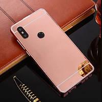 Чехол бампер для Xiaomi Mi A2 Lite / Xiaomi Redmi 6 Pro со съемной зеркальной крышкой, Золотисто-розовый