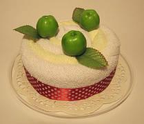 """Полотенце-тортик """"Тортик с фруктами(зеленое яблоко)"""""""