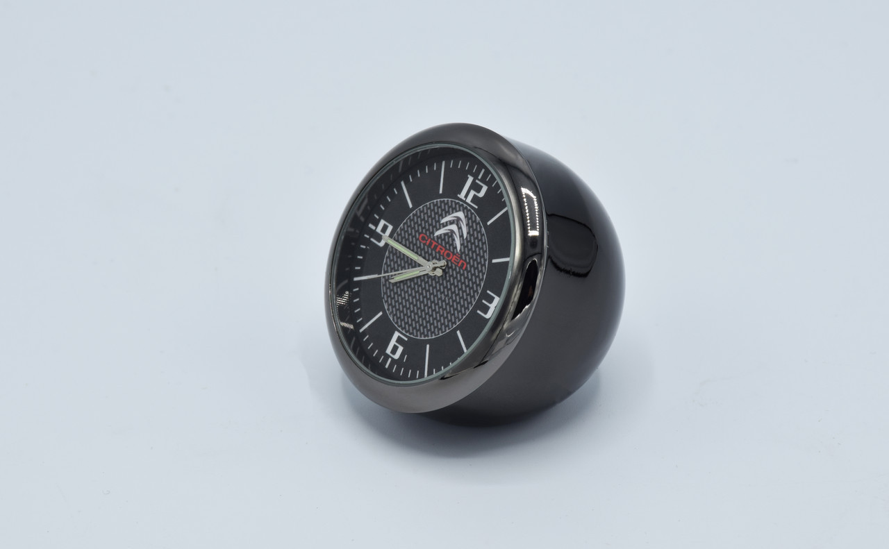 Часы в автомобиль Vehicle clock Citroen, хром/круглые автомобильные часы с маркой авто в Ситроен подарок