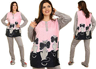 Женская велюровая пижама с котиками размеры 48-56 Велюр на хлопковой основе