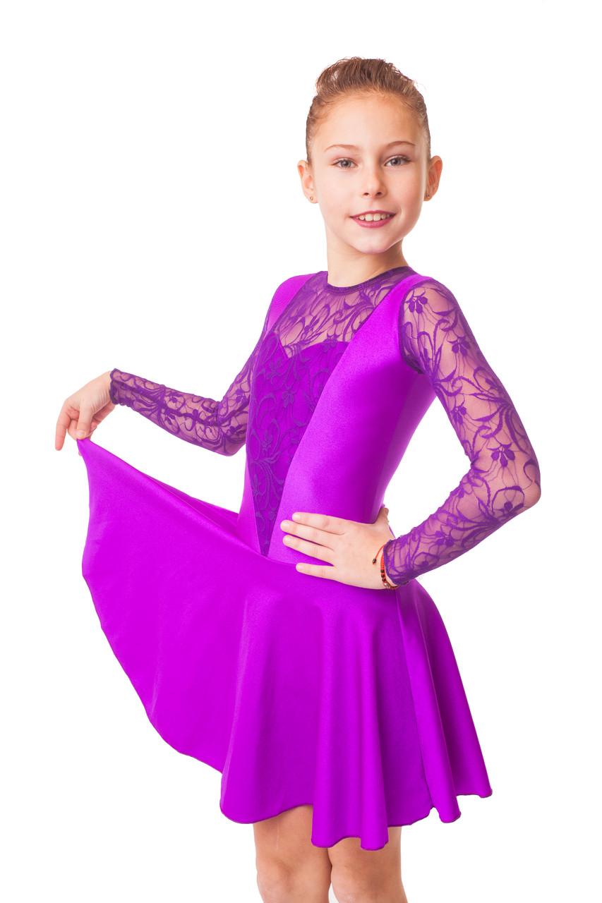 Рейтинговое платье для бальных танцев (бейсик) с гипюром фиолетовое