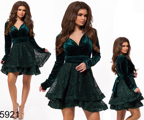 f2af739eb47 Короткое вечернее платье с длинным рукавом цвет бутылка 825921