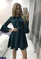 Женское красивое однотонное осеннее с рюшами мини платье,рукав три четверти (креп-дайвинг) 3 цвета (батал)