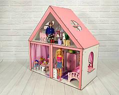 Кукольный домик Особняк Барби 2 этажа/3 комнаты + обои + шторы + текстиль + мебель