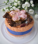 """Полотенце-тортик """"Английские розы розовые"""""""
