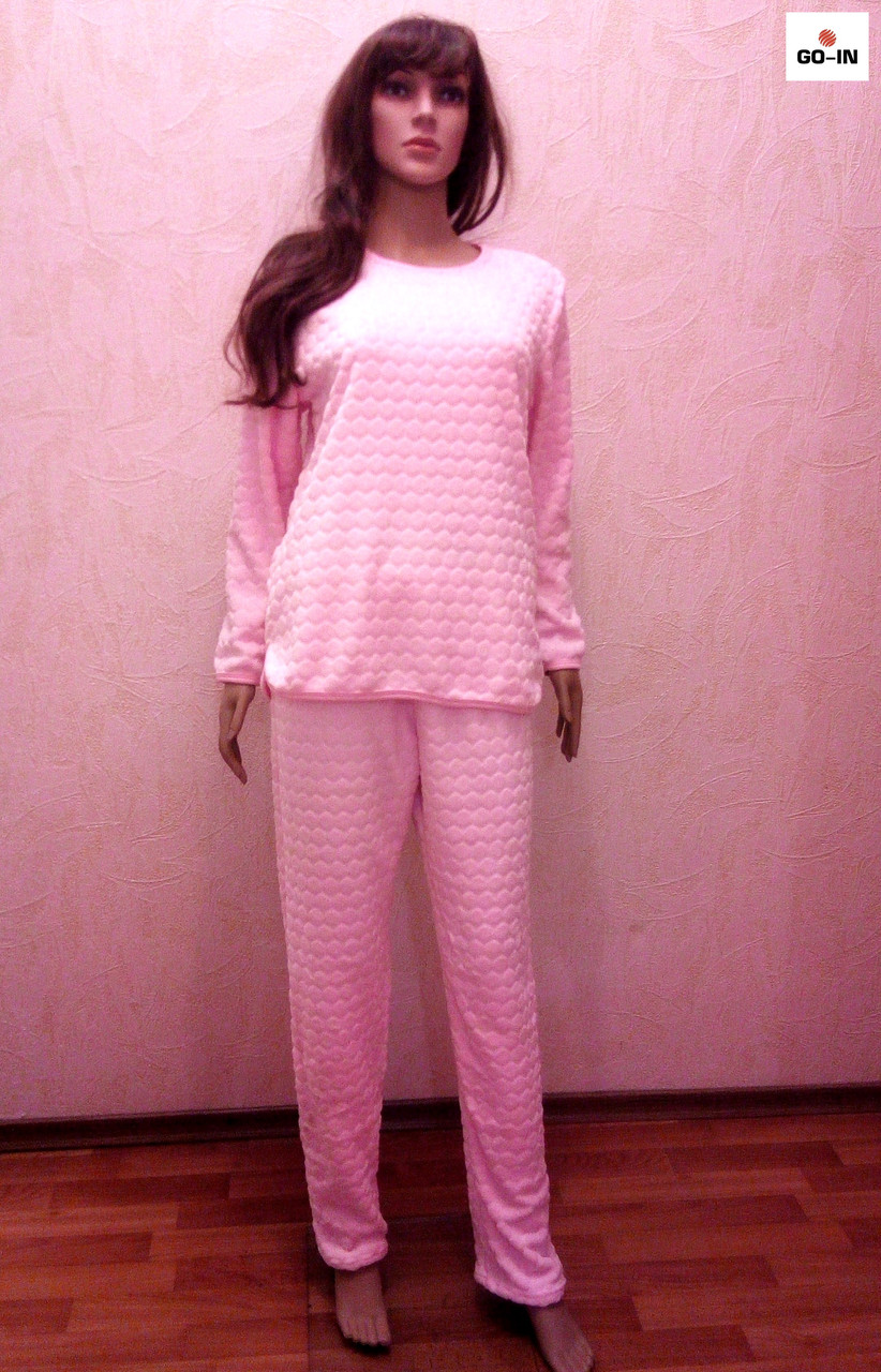 Махровая женская пижама теплая розовая р.40-54