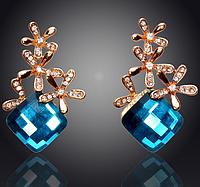 Элегантные позолоченные 18К серьги, крупные серьги, украшенные квадратным кристаллом и цветами, нарядные