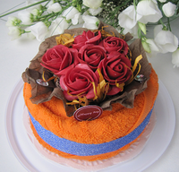 """Полотенце-тортик """"Английские розы алые"""""""