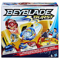 Набор Beyblade Burst Epic Rivals Battle Бейблейд арена желтая 35см + 2 волчка +  2 запускных механизма.