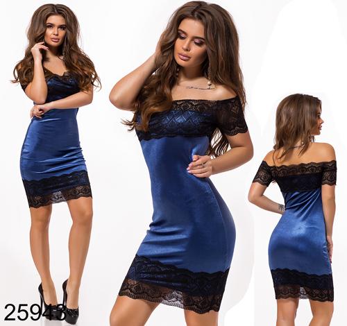 70894af63e49 Вечернее платье короткое с кружевом синий 825943
