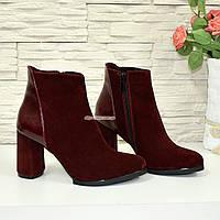 Демисезонные женские ботинки на высоком каблуке, из натуральной замши бордового цвета