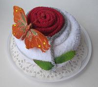 """Полотенце-тортик """"Дикая роза красная"""""""