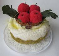 """Полотенце-тортик """"Торт с красными яблоками"""""""