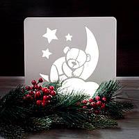 Ночник деревянный белый детский Мишка на месяце