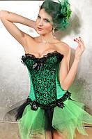 Зеленый корсет с декорированной вставкой
