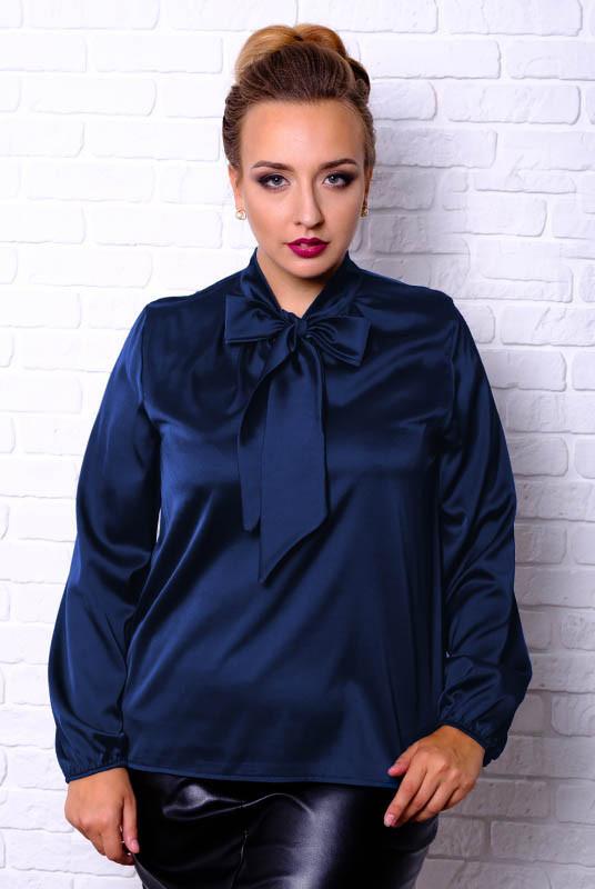 Синя шовкова блузка Емілія