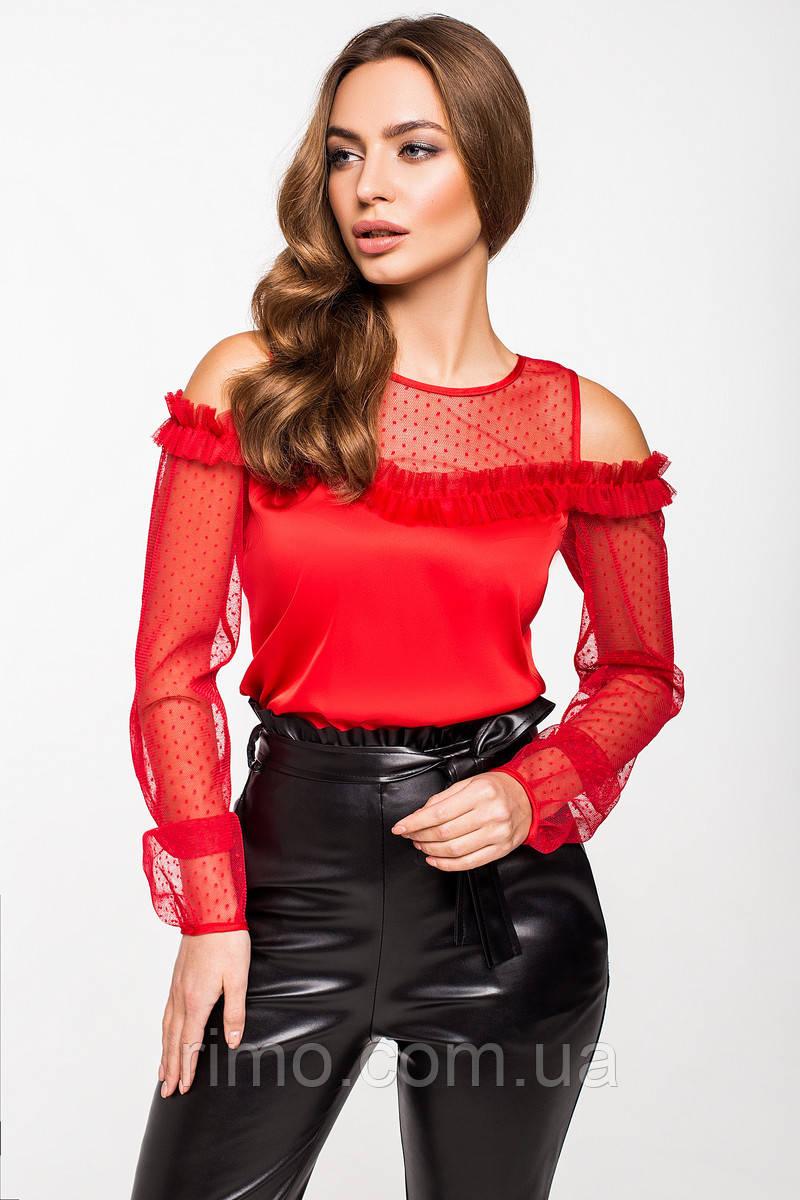 Блуза шелковая 2196 красная