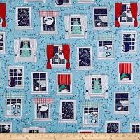 """Ткань для пэчворка и рукоделия американский хлопок """"Новогодние окна"""" - 45*55 см"""
