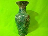 Керамическая настольная ваза «Титан» малахит зеленая с росписью металл