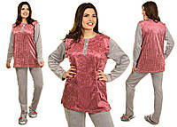 Женская велюровая пижама в горошек батальные размеры