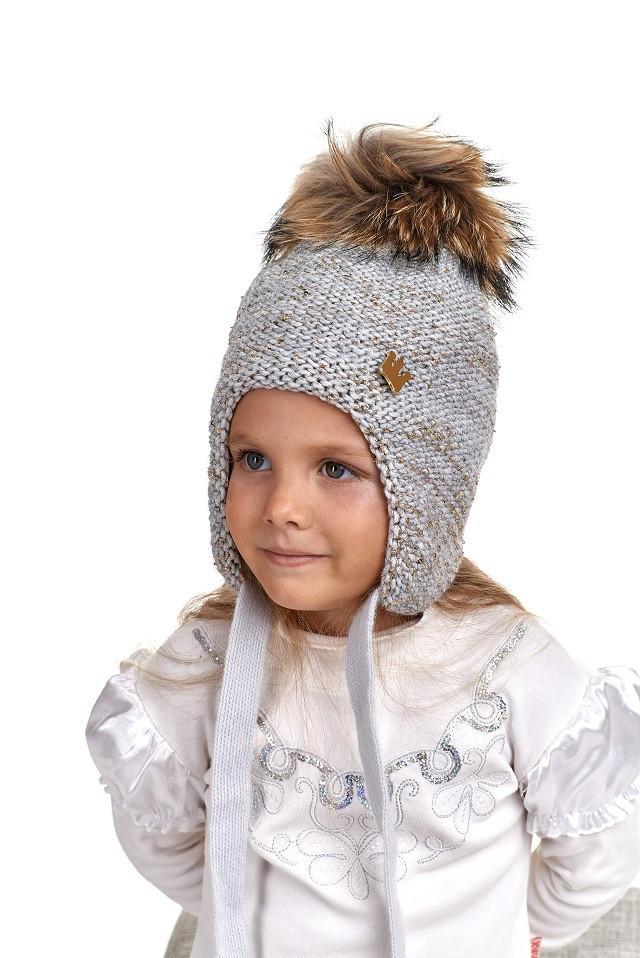 Зимняя шапка ушанка для девочки с натуральным помпоном, Nikola