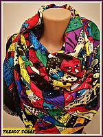 Женский Платок Котики ( Коты). Разноцветные коты и черный кант. Кашемир.130\130