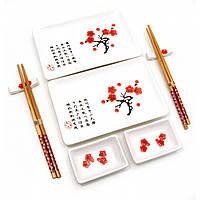 "Сервиз для суши ""Белый с цветами сакуры"" (2 персоны)(28х28,3х3,5 см) ( 23680A)"