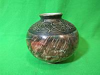 Керамическая настольная ваза «Шар» малахит коричневая с росписью металл