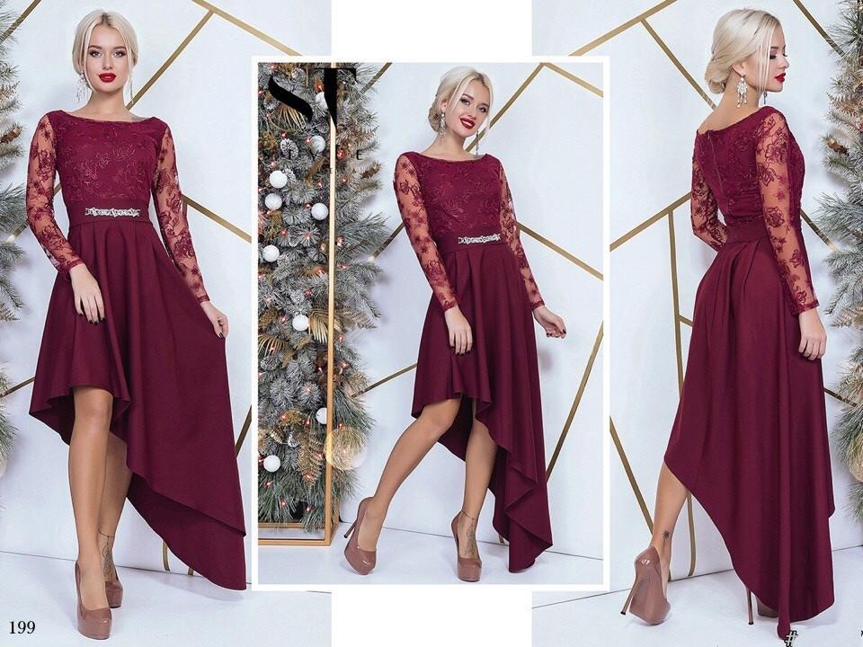 Платье вечернее асимметрия костюмка + гипюр вышивкой 42,44,46