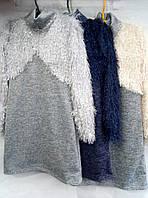 Платье для девочки на 8-11 лет с длинным рукавом серого, синего цвета имитация болеро оптом