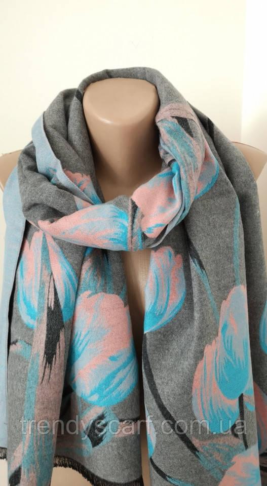 Женский Плотный Кашемировый шарф-палантин.Серый голубой.Цветы Тюльпаны Кашемир 190\65