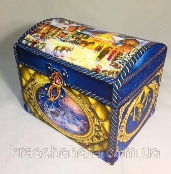Новогодняя коробка шкатулка, Сундук, Картонная упаковка для конфет, 1500 гр