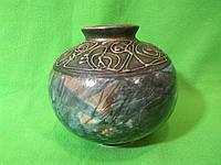 Керамическая настольная ваза «Шар» малахит зеленая с росписью металл