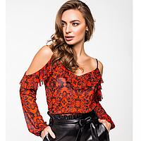 Блуза из сетки на тонких регулируемых бретелях с нежной оборкой по декольте и плечам, фото 1