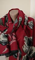 Женский Плотный Кашемировый шарф-палантин.Серый красный бордовый.Цветы Тюльпаны Кашемир 190\65