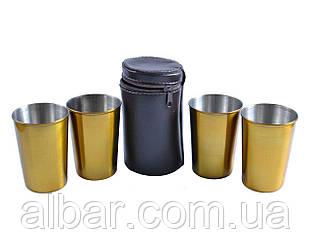 Рюмки из нержавеющей стали в кожаном чехле (Золото, 4 шт).