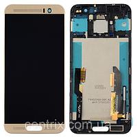 Дисплей (экран) для HTC One M9 Plus + тачскрин, цвет черный с передней панелью золотистого цвета, фото 1
