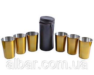 Рюмки из нержавеющей стали в кожаном чехле (Золото, 6 шт).