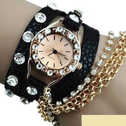 Женские Часы-браслет Ретро стиль черный цвет, золотая цепочка