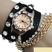Женские красивые часы-браслет Ретро стиль черный цвет